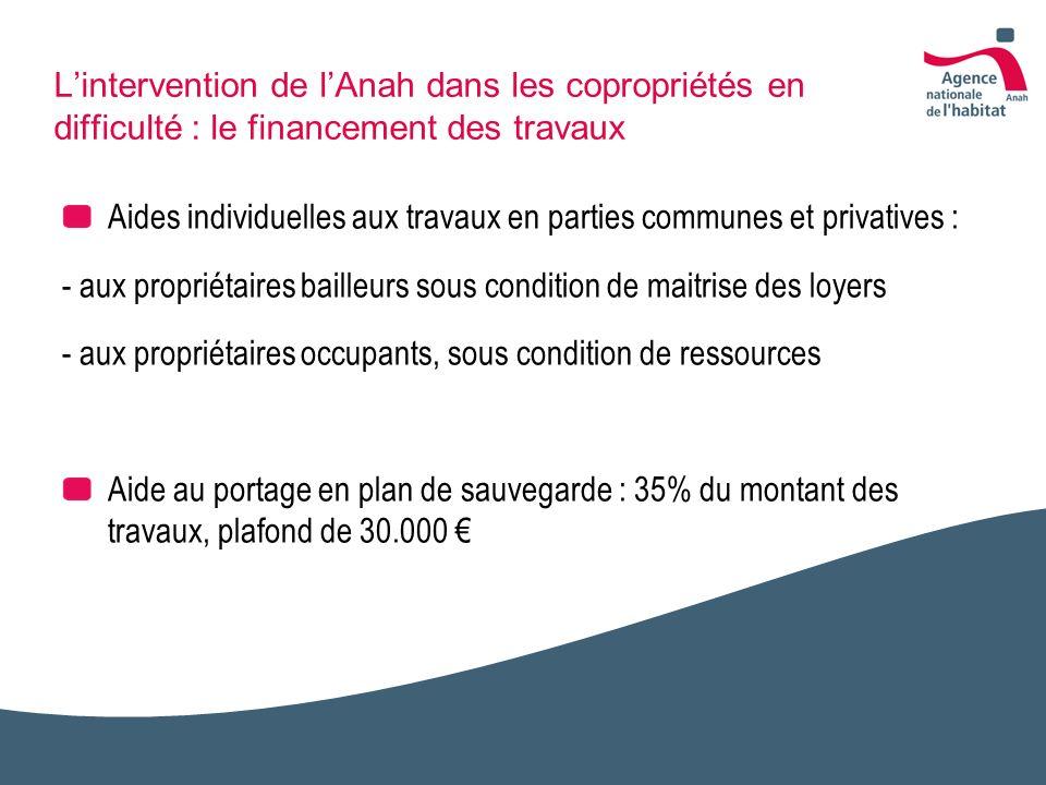 Lintervention de lAnah dans les copropriétés en difficulté : le financement des travaux Aides individuelles aux travaux en parties communes et privati