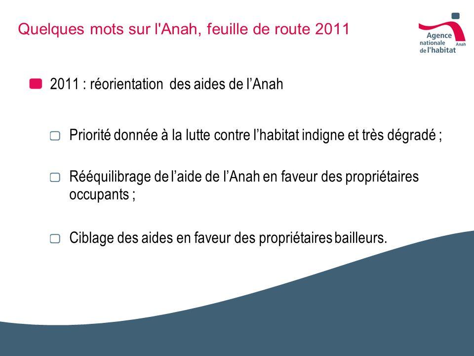 Quelques mots sur l'Anah, feuille de route 2011 2011 : réorientation des aides de lAnah Priorité donnée à la lutte contre lhabitat indigne et très dég