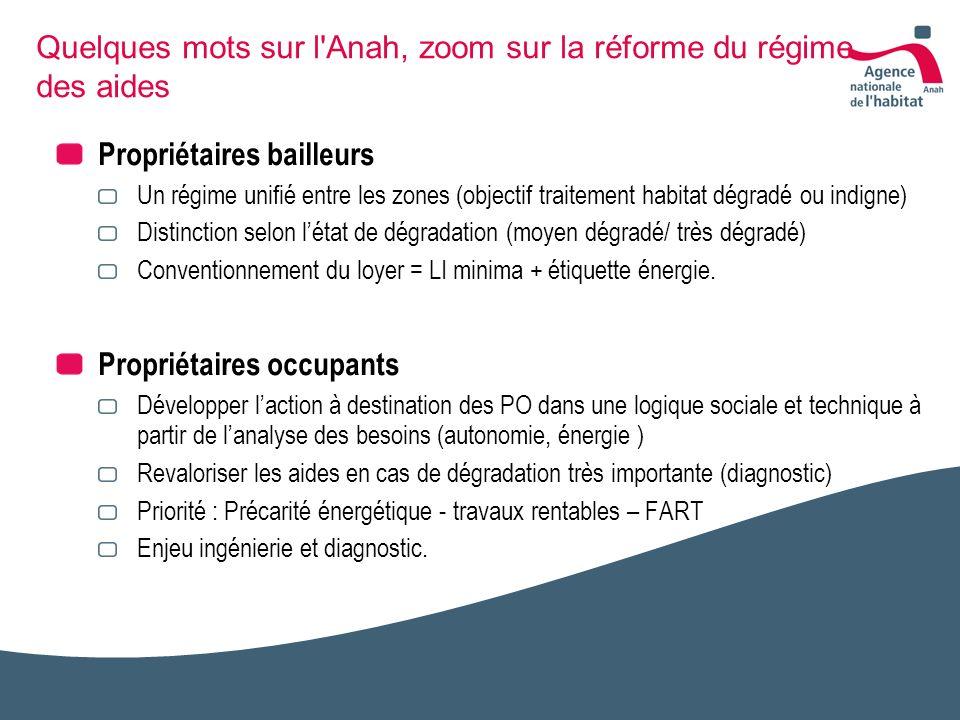 Quelques mots sur l'Anah, zoom sur la réforme du régime des aides Propriétaires bailleurs Un régime unifié entre les zones (objectif traitement habita
