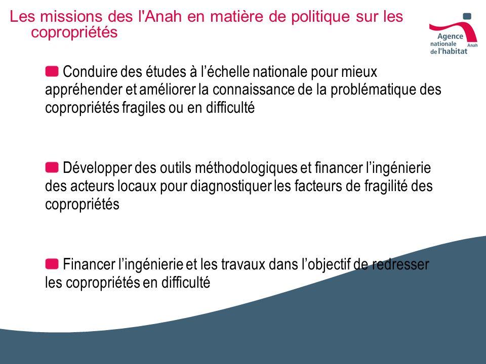 Les missions des l'Anah en matière de politique sur les copropriétés Conduire des études à léchelle nationale pour mieux appréhender et améliorer la c
