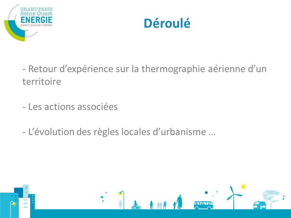 Déroulé - Retour dexpérience sur la thermographie aérienne dun territoire - Les actions associées - Lévolution des règles locales durbanisme …