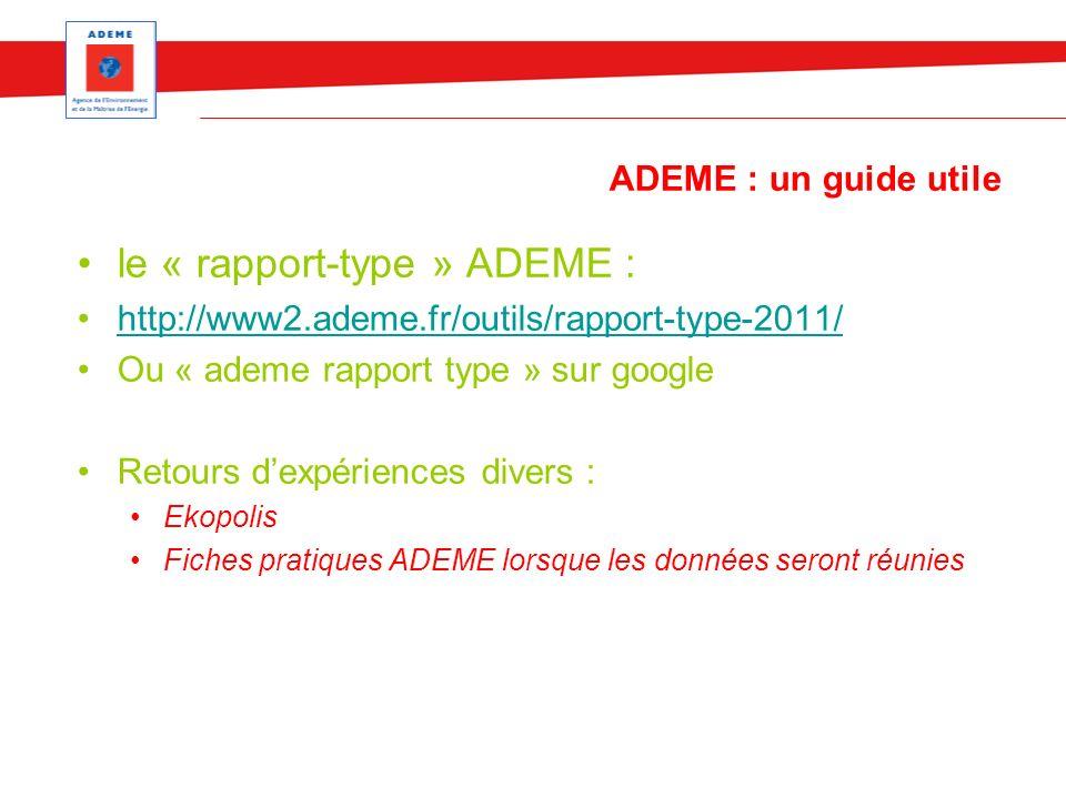 ADEME : un guide utile le « rapport-type » ADEME : http://www2.ademe.fr/outils/rapport-type-2011/ Ou « ademe rapport type » sur google Retours dexpéri