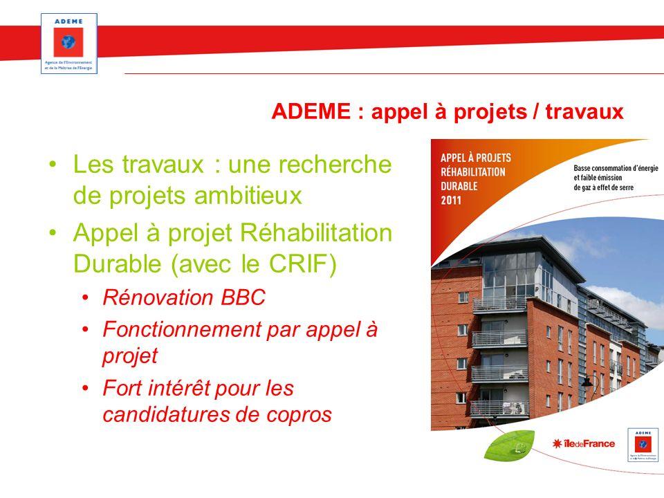 ADEME : appel à projets / travaux Les travaux : une recherche de projets ambitieux Appel à projet Réhabilitation Durable (avec le CRIF) Rénovation BBC