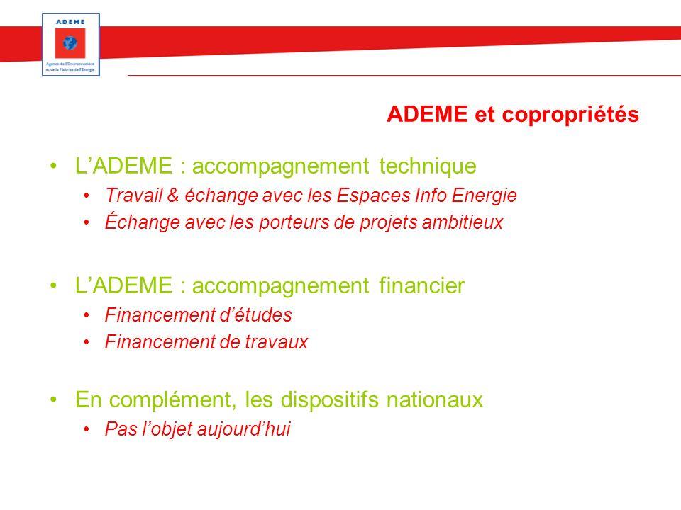 ADEME : appel à projets / travaux Les travaux : une recherche de projets ambitieux Appel à projet Réhabilitation Durable (avec le CRIF) Rénovation BBC Fonctionnement par appel à projet Fort intérêt pour les candidatures de copros