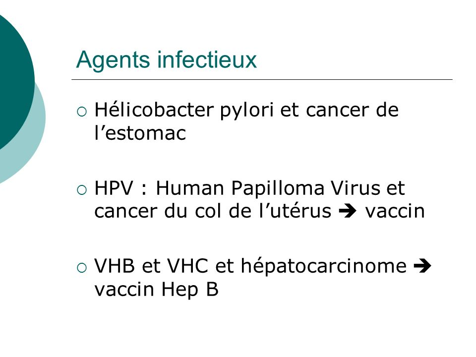 Agents infectieux Hélicobacter pylori et cancer de lestomac HPV : Human Papilloma Virus et cancer du col de lutérus vaccin VHB et VHC et hépatocarcino