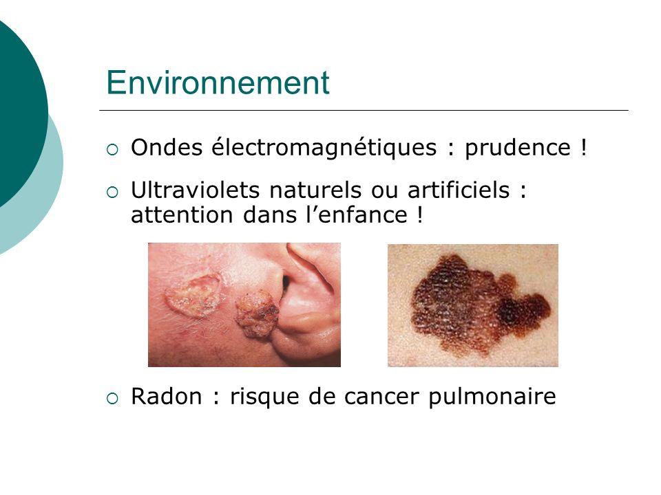 Environnement Ondes électromagnétiques : prudence ! Ultraviolets naturels ou artificiels : attention dans lenfance ! Radon : risque de cancer pulmonai