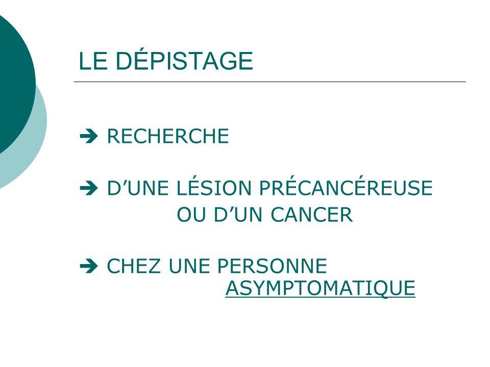 LE DÉPISTAGE RECHERCHE DUNE LÉSION PRÉCANCÉREUSE OU DUN CANCER CHEZ UNE PERSONNE ASYMPTOMATIQUE