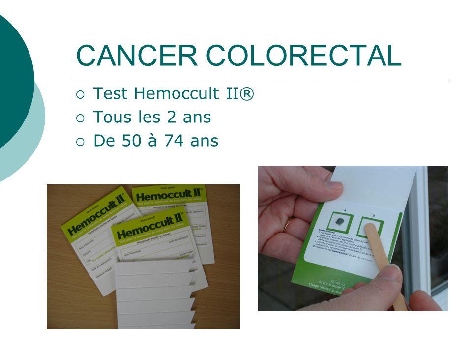 CANCER COLORECTAL Test Hemoccult II® Tous les 2 ans De 50 à 74 ans