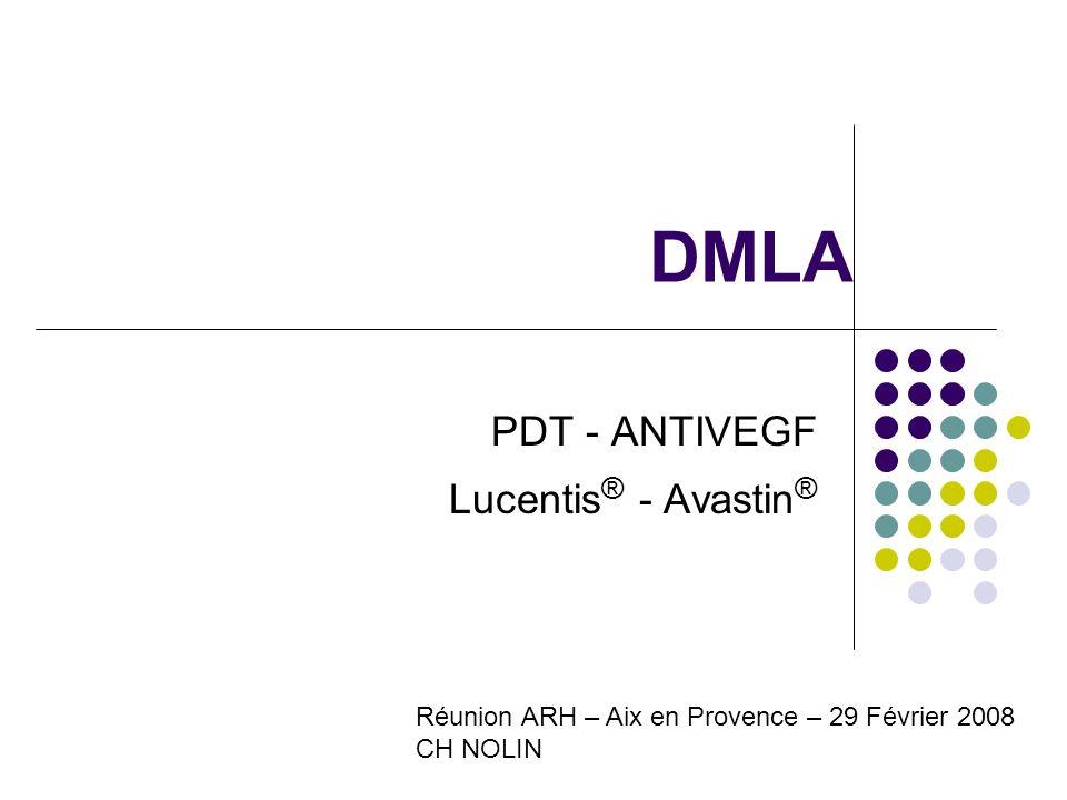 DMLA PDT - ANTIVEGF Lucentis ® - Avastin ® Réunion ARH – Aix en Provence – 29 Février 2008 CH NOLIN