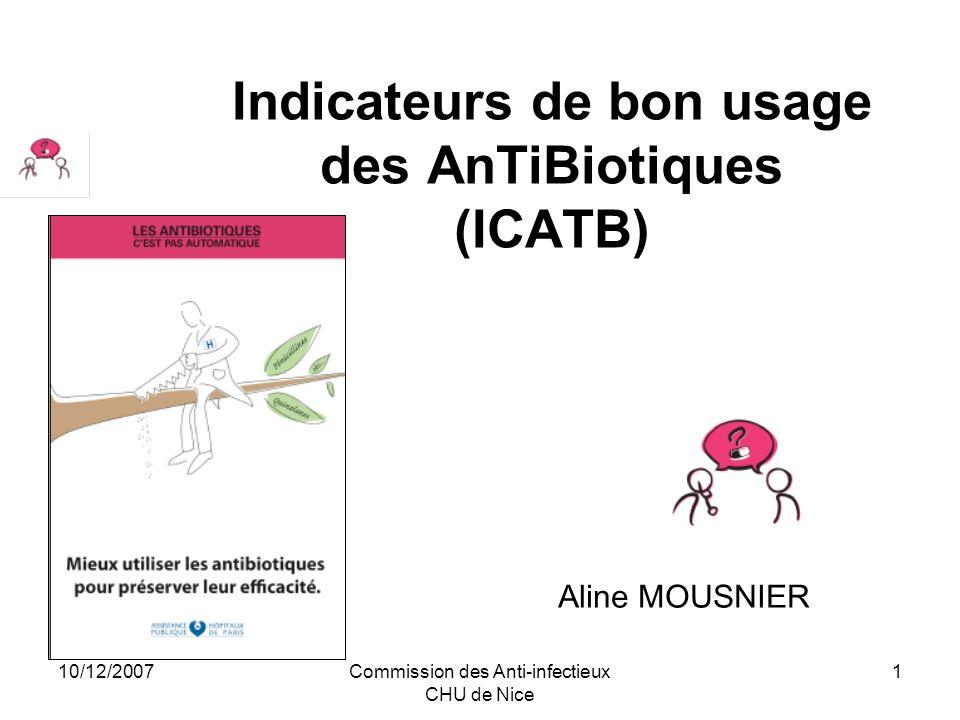 10/12/2007Commission des Anti-infectieux CHU de Nice 1 Indicateurs de bon usage des AnTiBiotiques (ICATB) Aline MOUSNIER