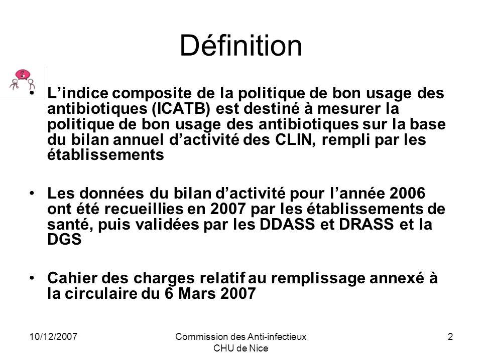 10/12/2007Commission des Anti-infectieux CHU de Nice 3 ICATB doit refléter la politique de bon utilisation des antibiotiques Indicateur Composite de bon usage des Antibiotiques (ICATB) : principes des trois sous catégories OMA comme pour ICALIN, –O = 4 –M = 8 –A = 8 –score sur 20 points –affichage du score et de la classe de performance de létablissement (A à E).