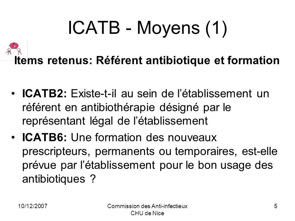 10/12/2007Commission des Anti-infectieux CHU de Nice 6 ICATB – Moyens (2) ICATB 5 :Système dinformation 5.a Existe-t-il une connexion informatique entre les services prescripteurs, le laboratoire de microbiologie et la pharmacie .