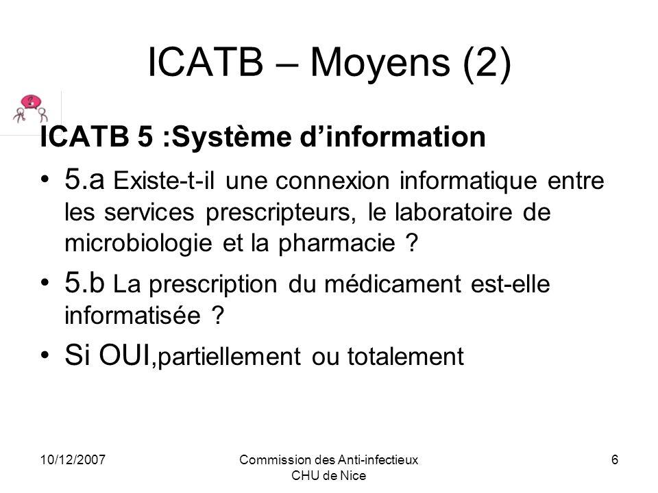10/12/2007Commission des Anti-infectieux CHU de Nice 7 ICATB - Actions (1) Items retenus :Prévention ICATB3a Existe-t-il des protocoles, validés par linstance ci-dessus, sur l antibioprophylaxie chirurgicale et basés sur un référentiel reconnu.