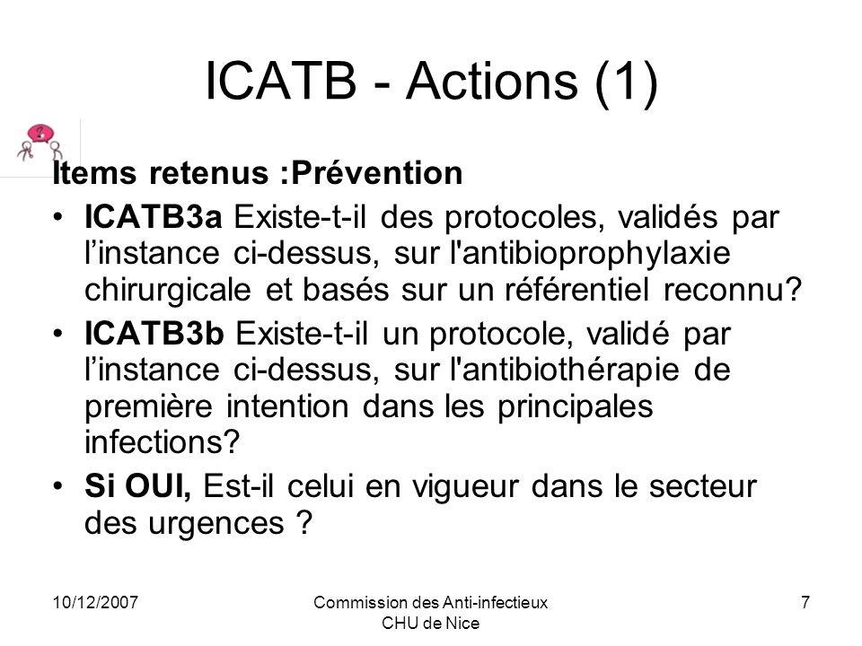 10/12/2007Commission des Anti-infectieux CHU de Nice 8 ICATB - Actions (1) Items retenus :Règles dantibiothérapie ICATB4a Linstance ci-dessus a-t-elle établi une liste des antibiotiques disponibles dans létablissement .