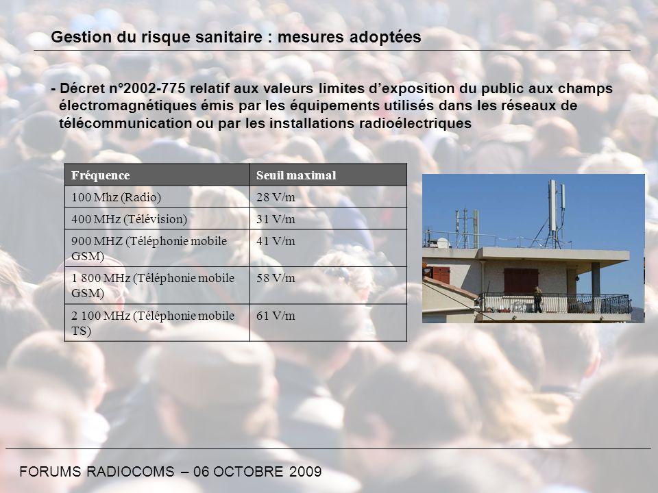 FORUMS RADIOCOMS – 06 OCTOBRE 2009 Gestion du risque sanitaire : mesures adoptées - Décret n°2002-775 relatif aux valeurs limites dexposition du publi