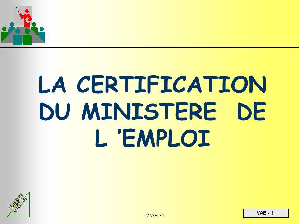 VAE - 1 CVAE 31 LA CERTIFICATION DU MINISTERE DE L EMPLOI