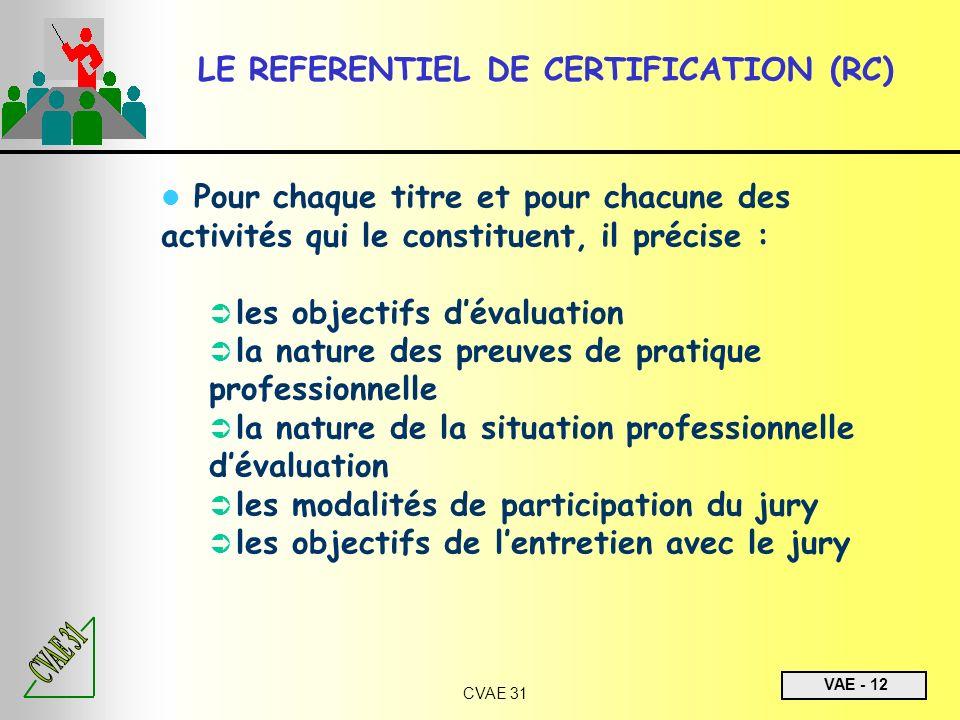 VAE - 12 CVAE 31 LE REFERENTIEL DE CERTIFICATION (RC) Pour chaque titre et pour chacune des activités qui le constituent, il précise : les objectifs d