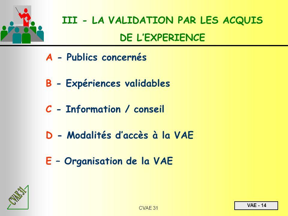 VAE - 14 CVAE 31 A - Publics concernés B - Expériences validables C - Information / conseil D - Modalités daccès à la VAE E – Organisation de la VAE I