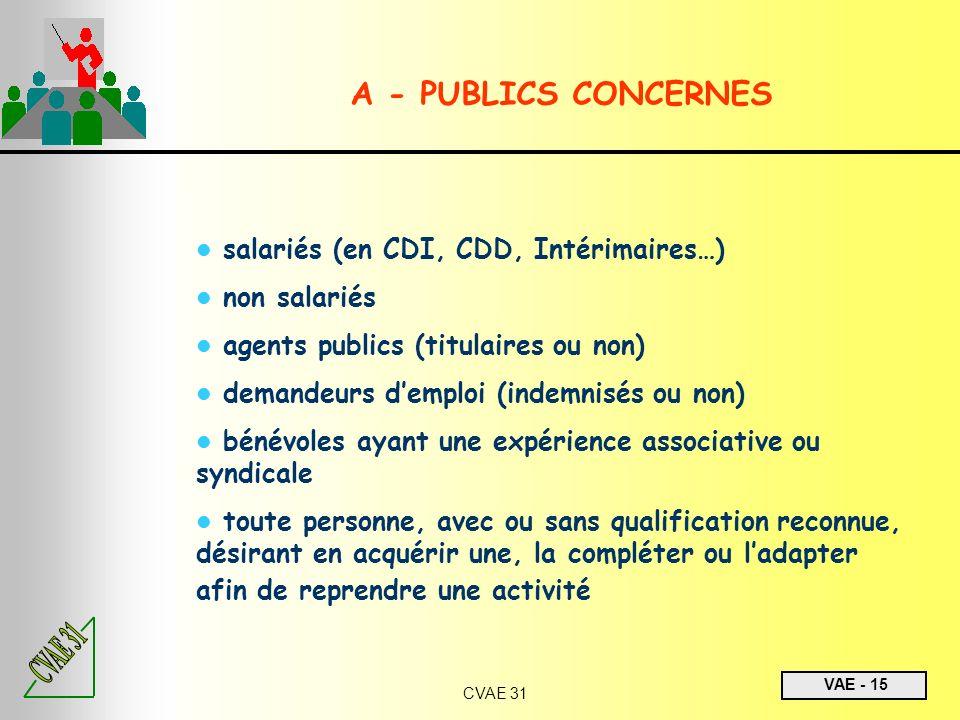 VAE - 15 CVAE 31 salariés (en CDI, CDD, Intérimaires…) non salariés agents publics (titulaires ou non) demandeurs demploi (indemnisés ou non) bénévole