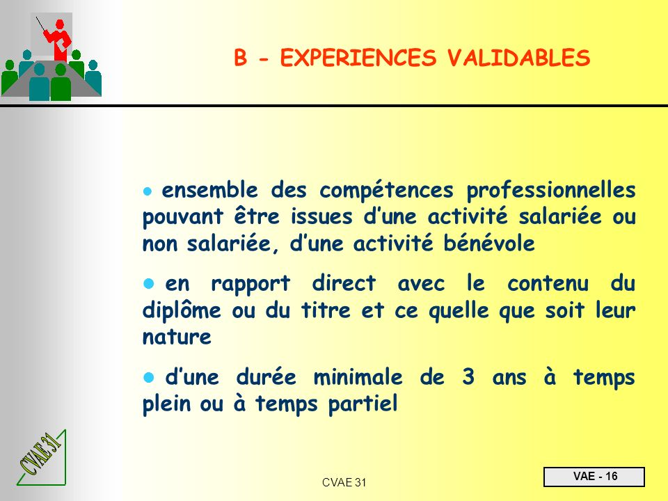 VAE - 16 CVAE 31 ensemble des compétences professionnelles pouvant être issues dune activité salariée ou non salariée, dune activité bénévole en rappo