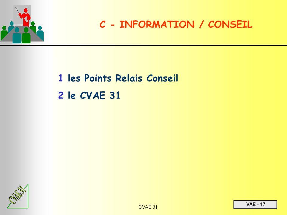 VAE - 17 CVAE 31 1 les Points Relais Conseil 2 le CVAE 31 C - INFORMATION / CONSEIL