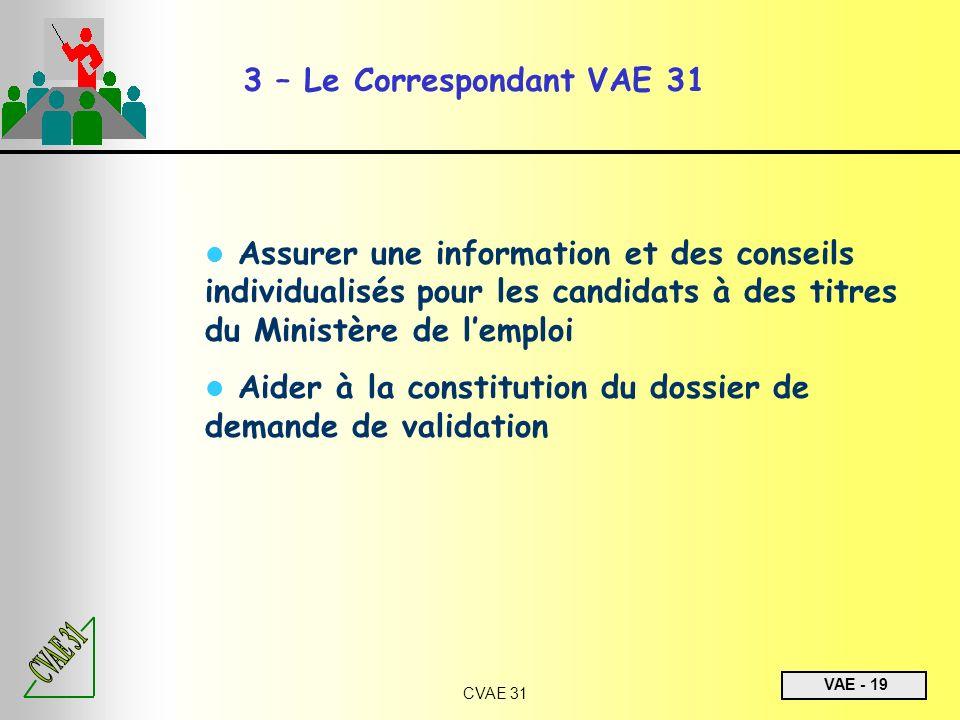VAE - 19 CVAE 31 3 – Le Correspondant VAE 31 Assurer une information et des conseils individualisés pour les candidats à des titres du Ministère de le
