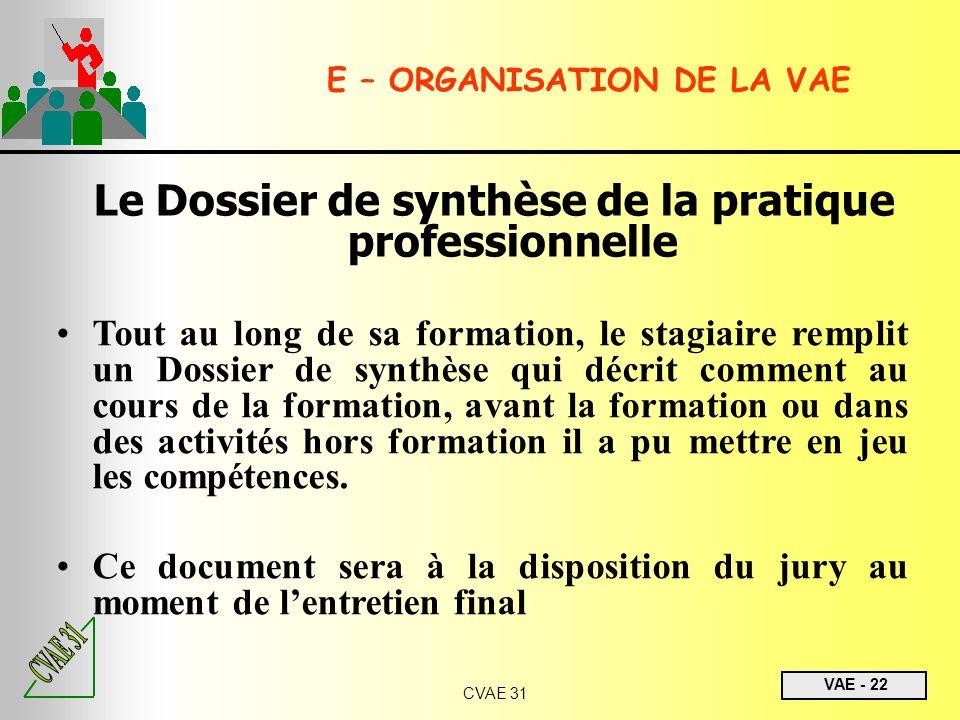 VAE - 22 CVAE 31 Le Dossier de synthèse de la pratique professionnelle Tout au long de sa formation, le stagiaire remplit un Dossier de synthèse qui d