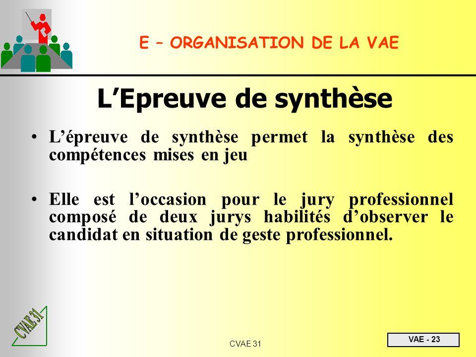VAE - 23 CVAE 31 LEpreuve de synthèse Lépreuve de synthèse permet la synthèse des compétences mises en jeu Elle est loccasion pour le jury professionn