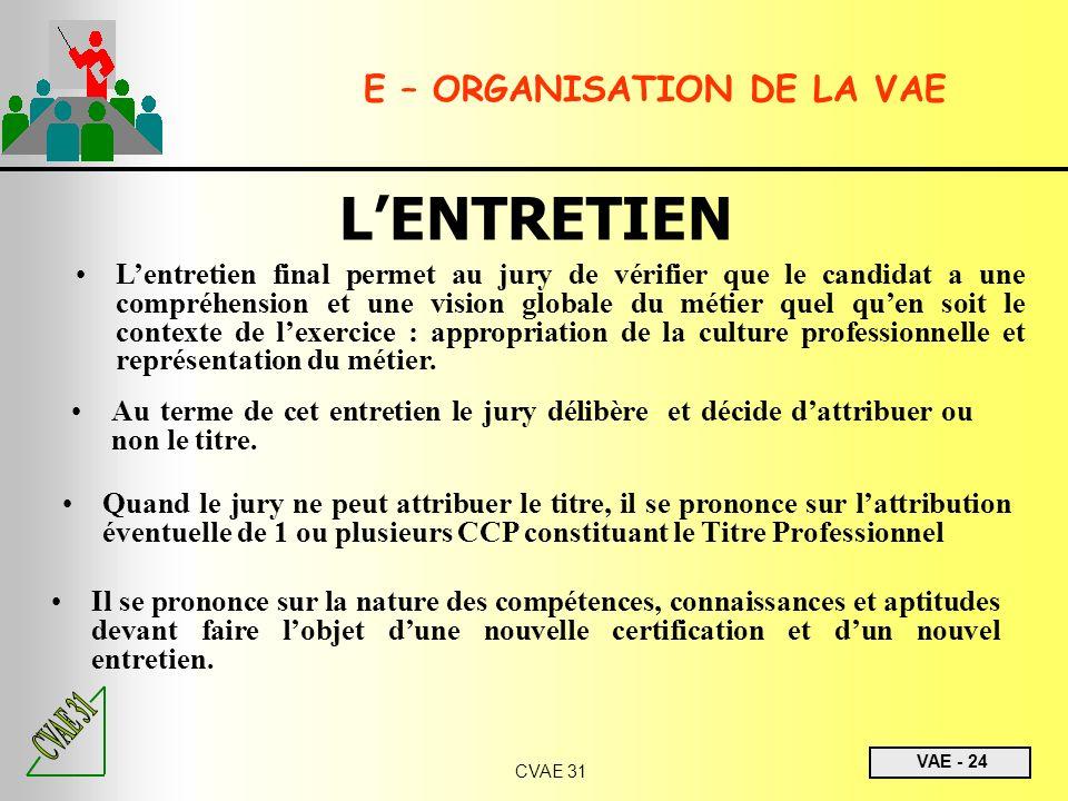 VAE - 24 CVAE 31 E – ORGANISATION DE LA VAE LENTRETIEN Lentretien final permet au jury de vérifier que le candidat a une compréhension et une vision g