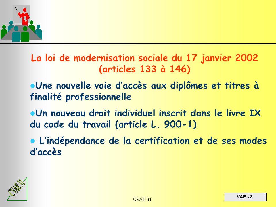 VAE - 3 CVAE 31 La loi de modernisation sociale du 17 janvier 2002 (articles 133 à 146) Une nouvelle voie daccès aux diplômes et titres à finalité pro