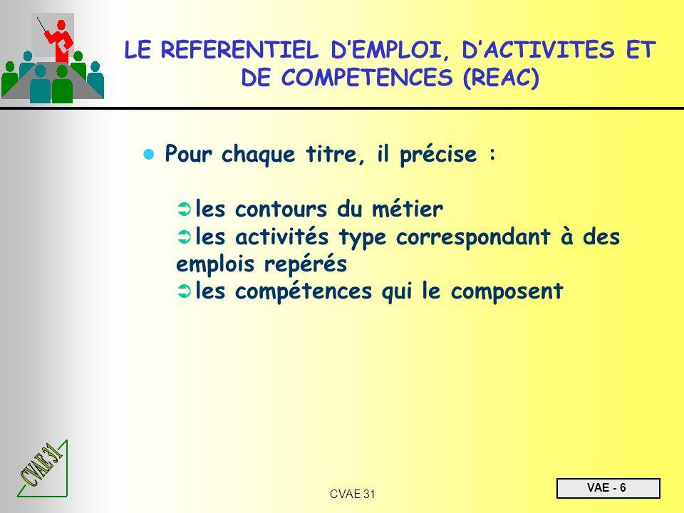 VAE - 6 CVAE 31 LE REFERENTIEL DEMPLOI, DACTIVITES ET DE COMPETENCES (REAC) Pour chaque titre, il précise : les contours du métier les activités type