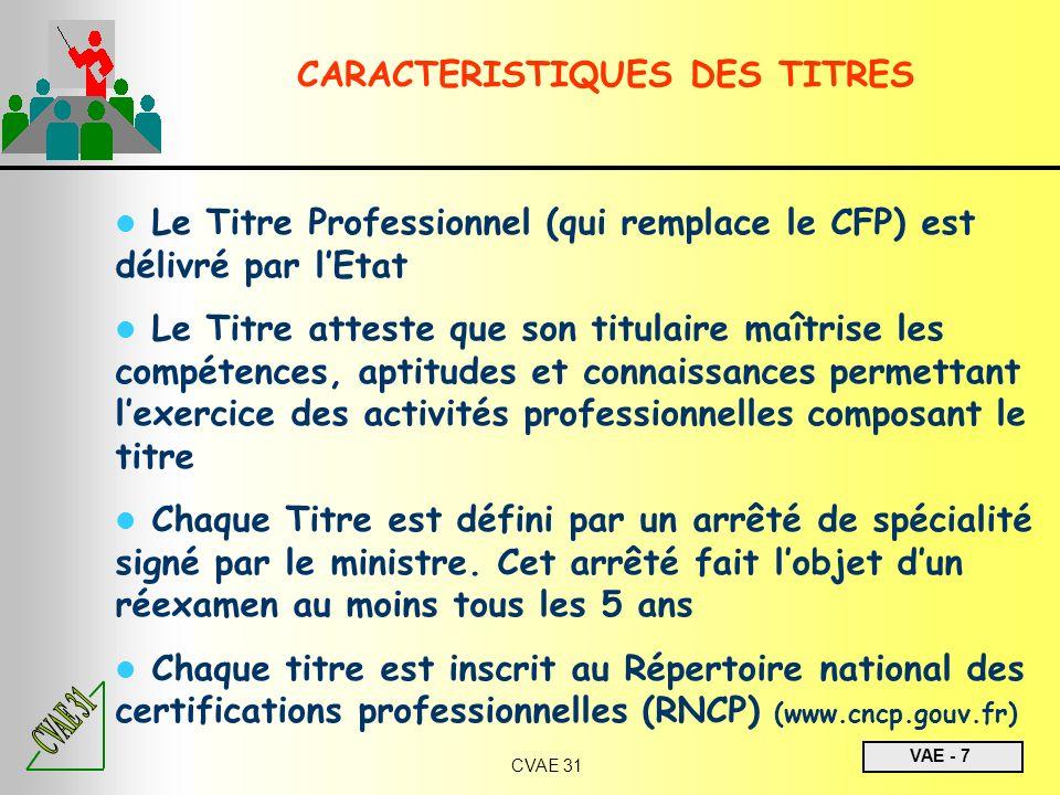 VAE - 7 CVAE 31 Le Titre Professionnel (qui remplace le CFP) est délivré par lEtat Le Titre atteste que son titulaire maîtrise les compétences, aptitu