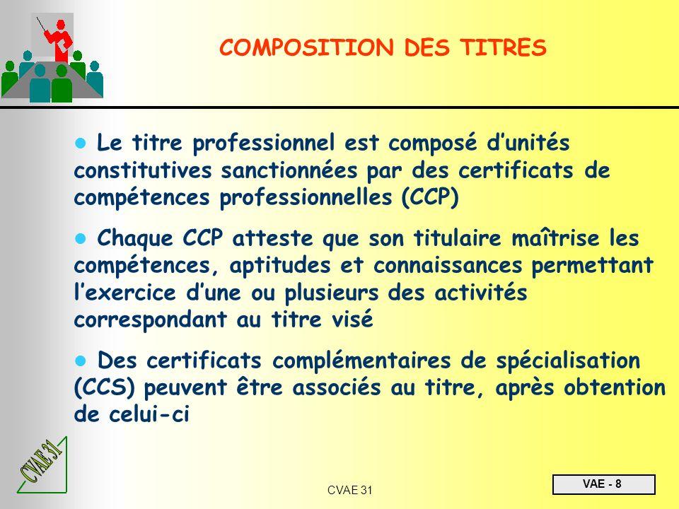 VAE - 8 CVAE 31 Le titre professionnel est composé dunités constitutives sanctionnées par des certificats de compétences professionnelles (CCP) Chaque