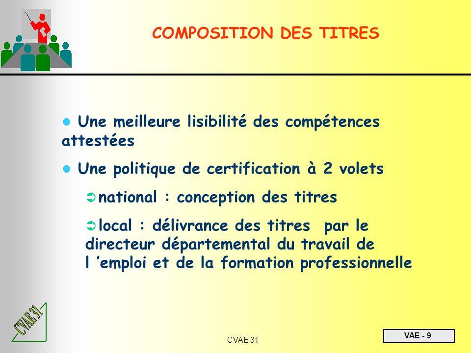VAE - 9 CVAE 31 Une meilleure lisibilité des compétences attestées Une politique de certification à 2 volets national : conception des titres local :