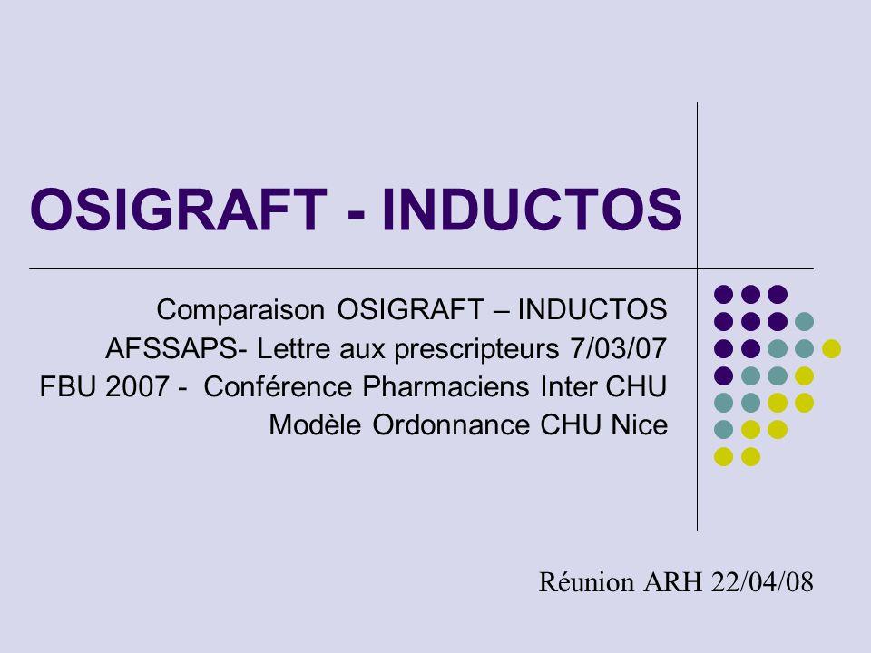 OSIGRAFT - INDUCTOS Comparaison OSIGRAFT – INDUCTOS AFSSAPS- Lettre aux prescripteurs 7/03/07 FBU 2007 - Conférence Pharmaciens Inter CHU Modèle Ordon