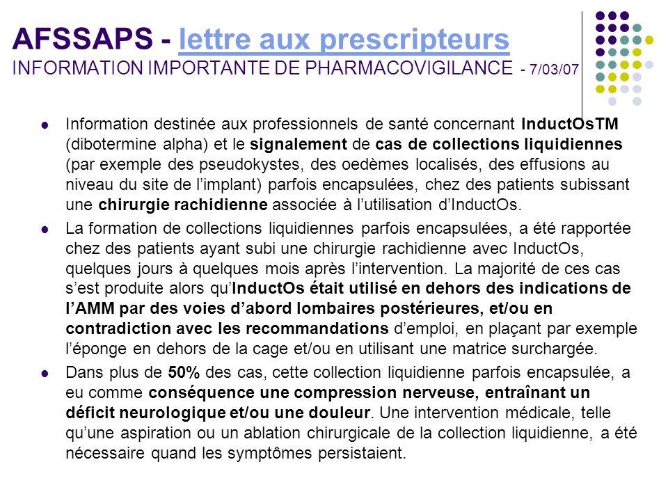 AFSSAPS - lettre aux prescripteurs INFORMATION IMPORTANTE DE PHARMACOVIGILANCE - 7/03/07lettre aux prescripteurs Information destinée aux professionne