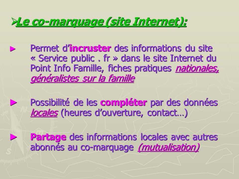 Le co-marquage (site Internet): Le co-marquage (site Internet): Permet dincruster des informations du site « Service public.