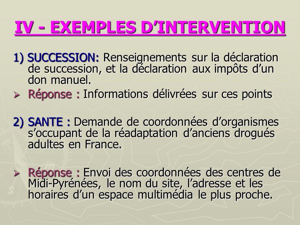 IV - EXEMPLES DINTERVENTION 1) SUCCESSION: Renseignements sur la déclaration de succession, et la déclaration aux impôts dun don manuel.