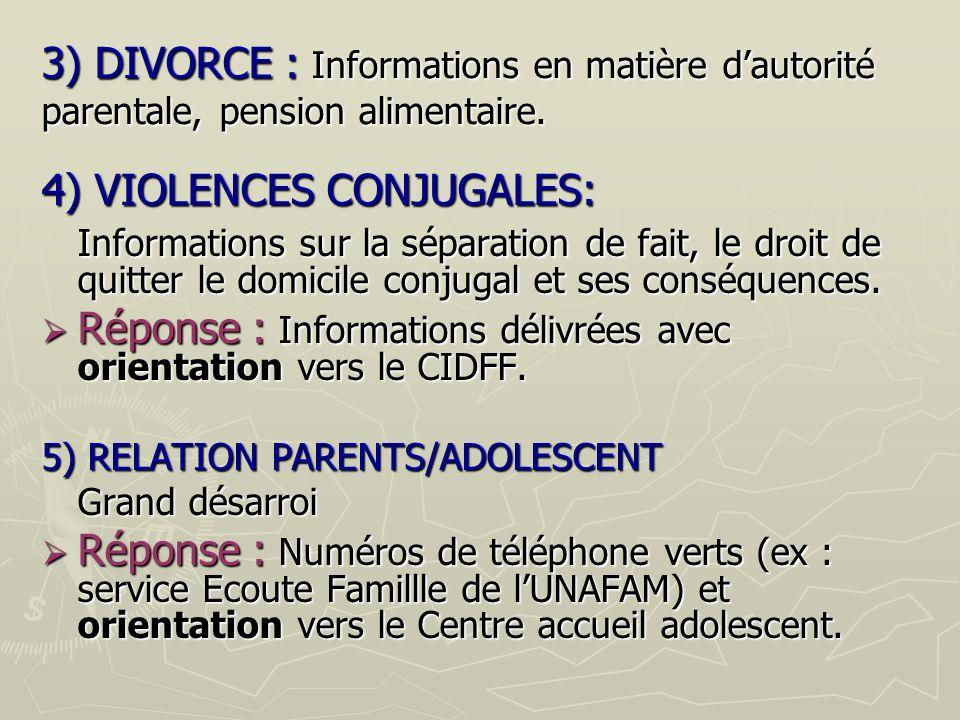 3) DIVORCE : Informations en matière dautorité parentale, pension alimentaire.