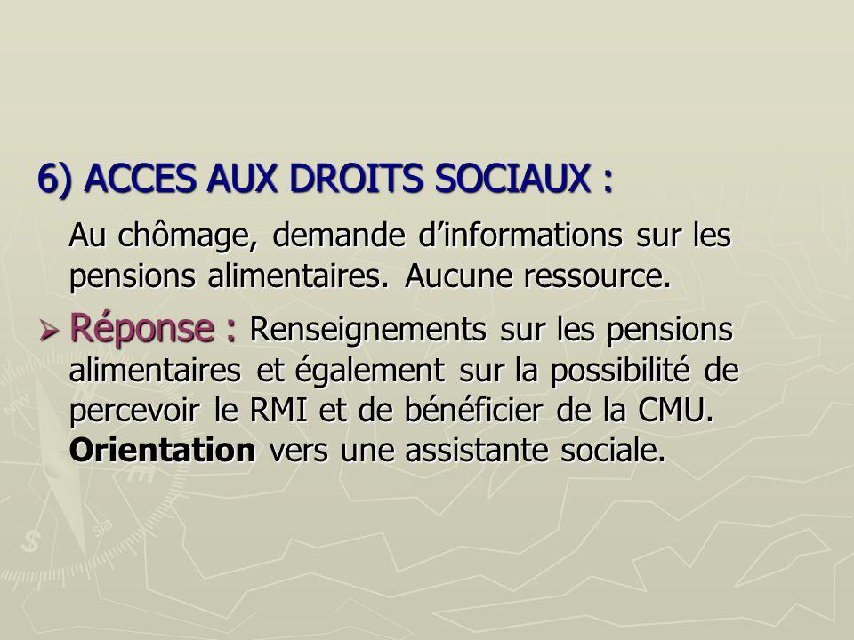 6) ACCES AUX DROITS SOCIAUX : Au chômage, demande dinformations sur les pensions alimentaires.