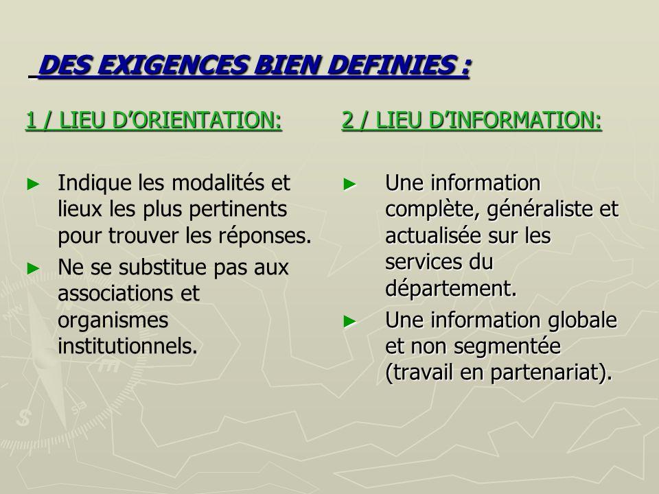 DES EXIGENCES BIEN DEFINIES : DES EXIGENCES BIEN DEFINIES : 2 / LIEU DINFORMATION: Une information complète, généraliste et actualisée sur les services du département.