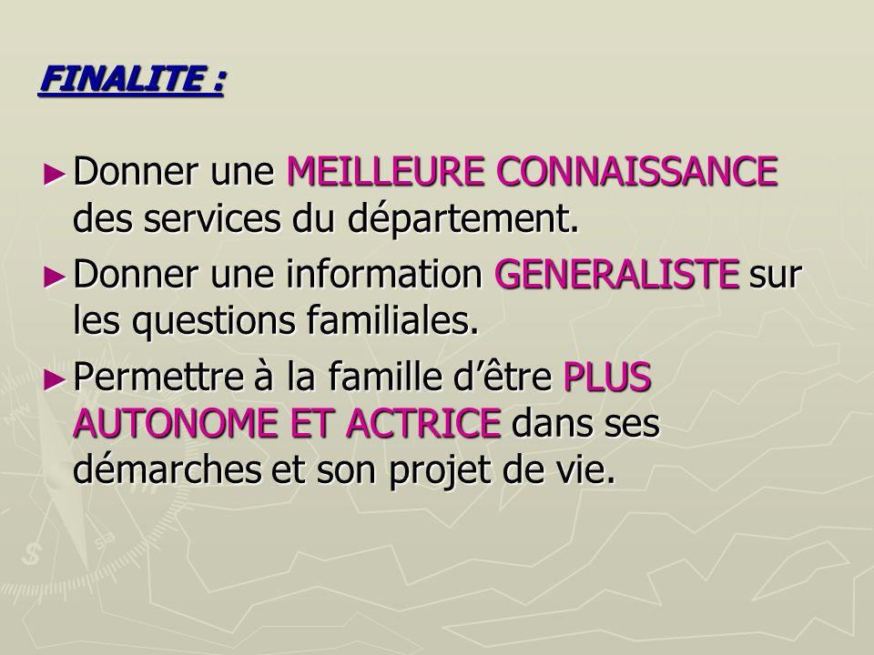FINALITE : Donner une MEILLEURE CONNAISSANCE des services du département.