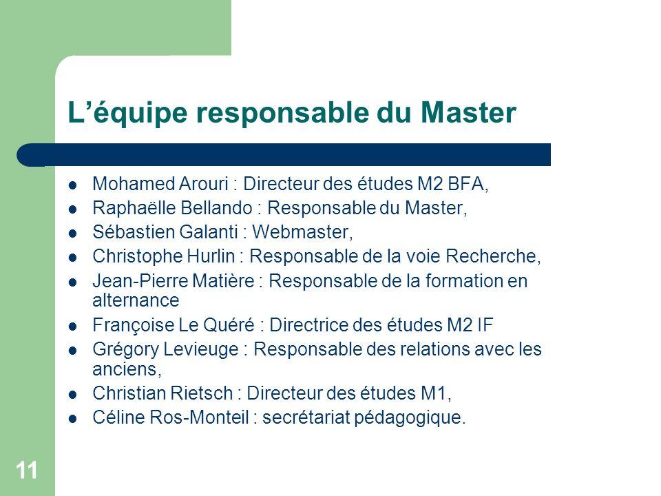 11 Léquipe responsable du Master Mohamed Arouri : Directeur des études M2 BFA, Raphaëlle Bellando : Responsable du Master, Sébastien Galanti : Webmast