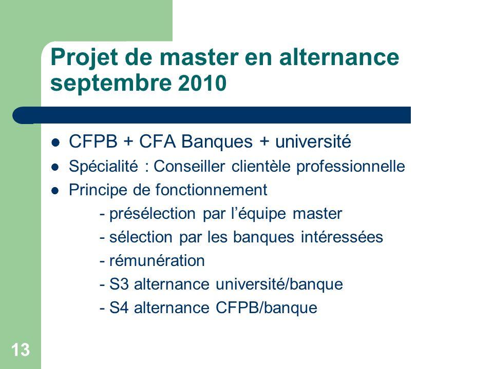 13 Projet de master en alternance septembre 2010 CFPB + CFA Banques + université Spécialité : Conseiller clientèle professionnelle Principe de fonctio