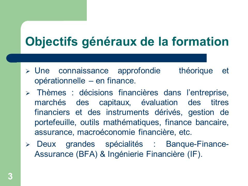 3 Objectifs généraux de la formation Une connaissance approfondie théorique et opérationnelle – en finance. Thèmes : décisions financières dans lentre