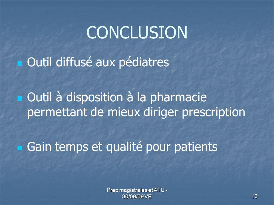10 Prep magistrales et ATU - 30/09/09 VE CONCLUSION Outil diffusé aux pédiatres Outil à disposition à la pharmacie permettant de mieux diriger prescri