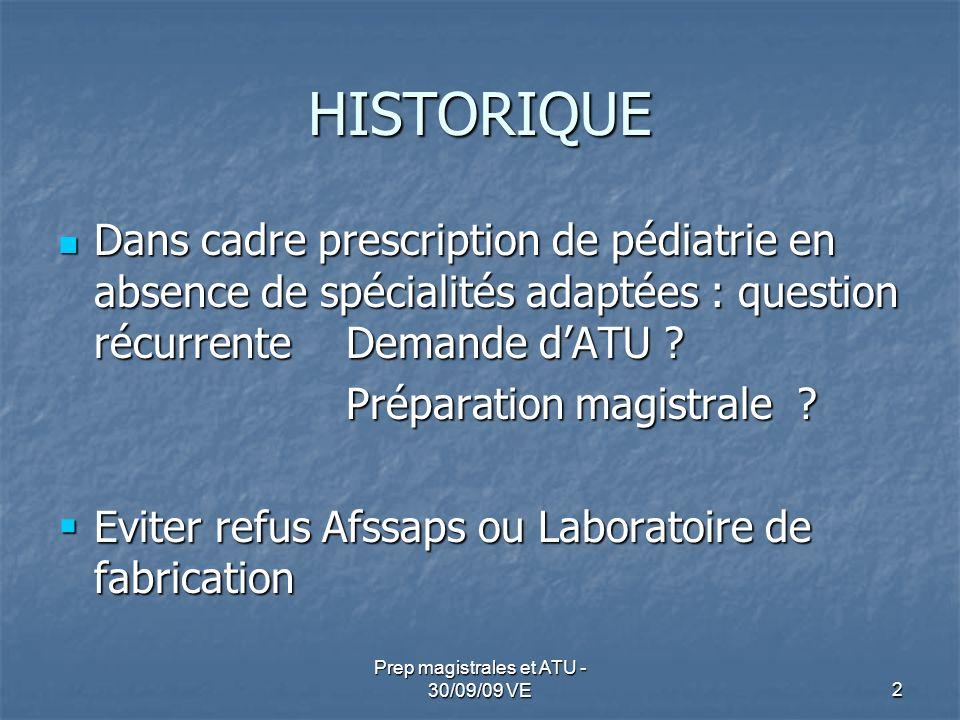 HISTORIQUE Dans cadre prescription de pédiatrie en absence de spécialités adaptées : question récurrente Demande dATU ? Dans cadre prescription de péd