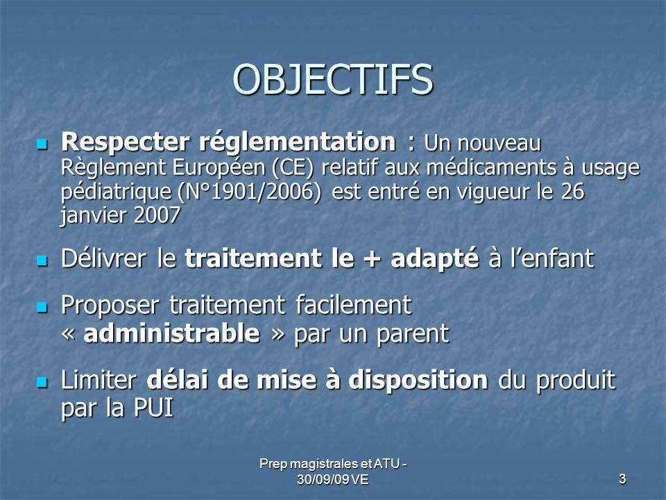 OBJECTIFS Respecter réglementation : Un nouveau Règlement Européen (CE) relatif aux médicaments à usage pédiatrique (N°1901/2006) est entré en vigueur
