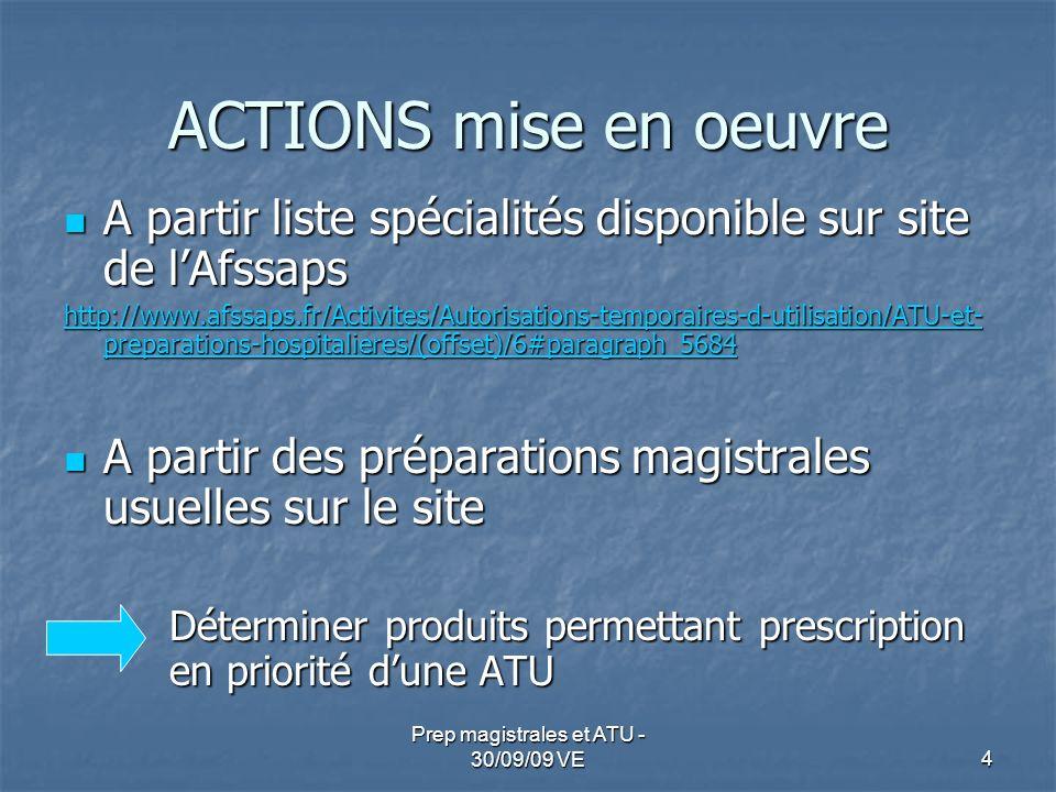 ACTIONS mise en oeuvre A partir liste spécialités disponible sur site de lAfssaps A partir liste spécialités disponible sur site de lAfssaps http://ww