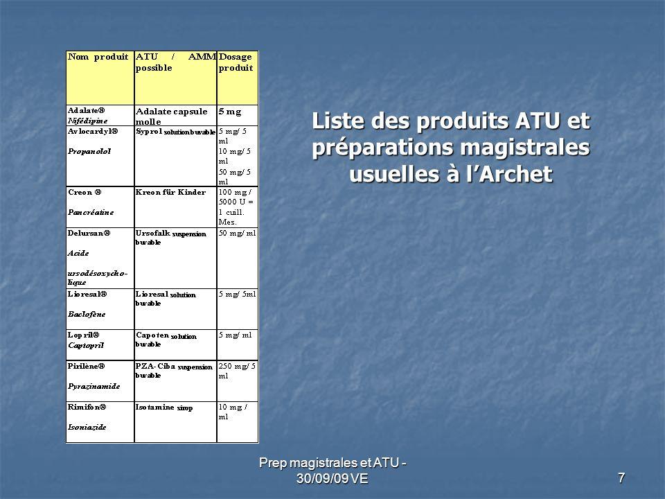 7 Prep magistrales et ATU - 30/09/09 VE Liste des produits ATU et préparations magistrales usuelles à lArchet